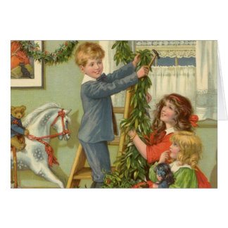 Vintage Christmas, Victorian Children Decorating Card