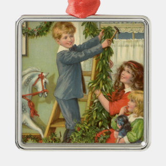 Vintage Christmas, Victorian Children Decorating Christmas Ornament