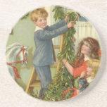 Vintage Christmas, Victorian Children Decorating Beverage Coaster