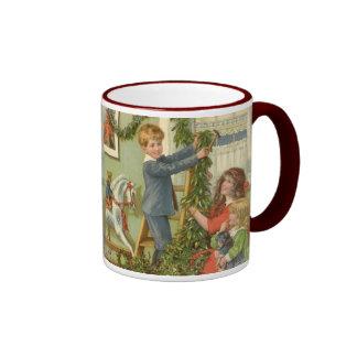 Vintage Christmas, Victorian Children Decorating Ringer Mug