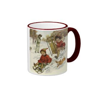 Vintage Christmas, Victorian Children Sled in Snow Ringer Mug
