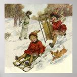 Vintage Christmas, Victorian Children Sledding Poster
