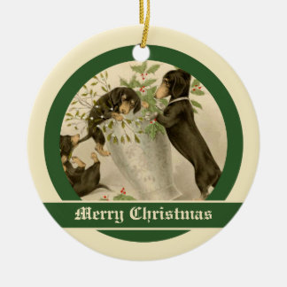 Vintage Christmas Victorian cute dachshund dogs Christmas Ornament