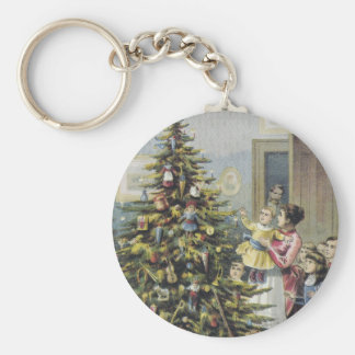 Vintage Christmas, Victorian Family Around Tree Basic Round Button Key Ring