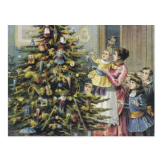 Vintage Christmas, Victorian Family Around Tree Postcard