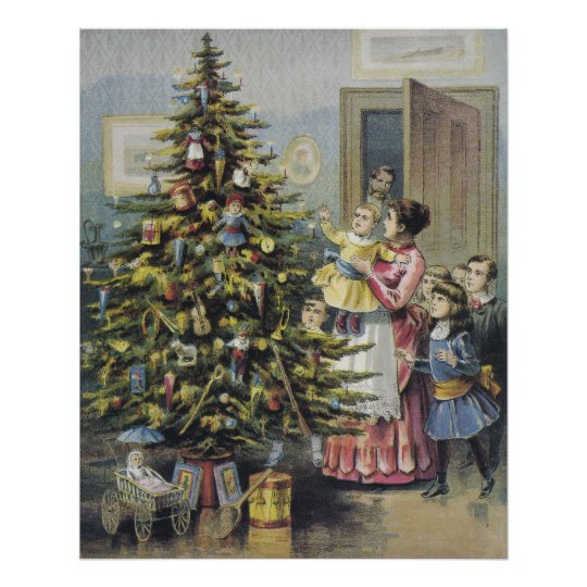 Vintage Christmas, Victorian Family Around Tree Poster
