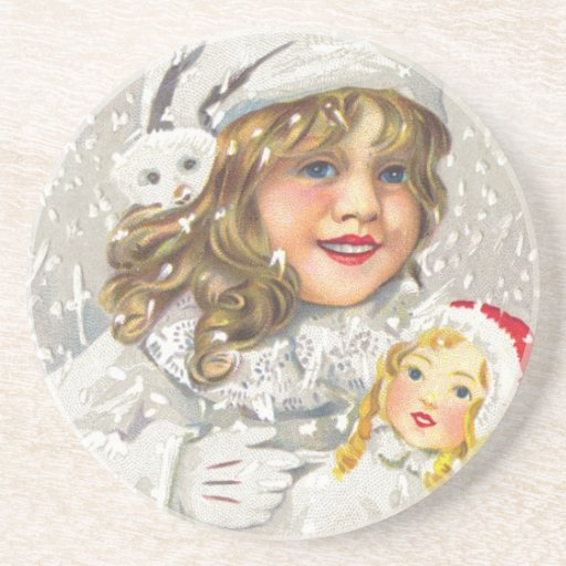Vintage Christmas Victorian Girl with Doll in Snow Drink Coasters