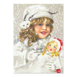 Vintage Christmas Victorian Girl with Doll in Snow Custom Announcements