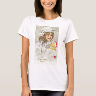 Vintage Christmas Victorian Girl with Doll in Snow T-Shirt