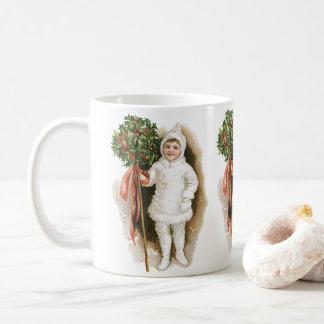 Vintage Christmas, Victorian Girl with Holly Coffee Mug