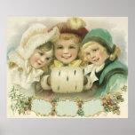 Vintage Christmas, Victorian Girls, Children Poster