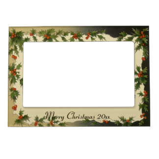 Vintage Christmas, Victorian Holly Leaves Berries Magnetic Frame