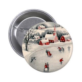Vintage Christmas, Victorian Ice Skaters on Pond 6 Cm Round Badge