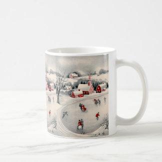 Vintage Christmas, Victorian Ice Skaters on Pond Basic White Mug