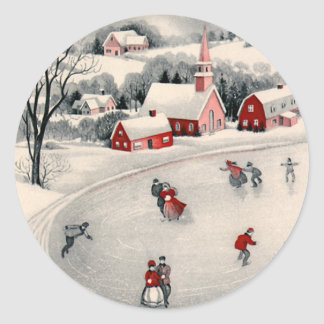 Vintage Christmas, Victorian Ice Skaters on Pond Classic Round Sticker