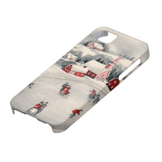 Vintage Christmas, Victorian Ice Skaters on Pond iPhone 5 Case