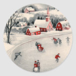 Vintage Christmas, Victorian Ice Skaters on Pond Round Sticker