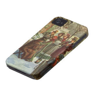 Vintage Christmas, Victorian Musicians Play Music iPhone 4 Cases