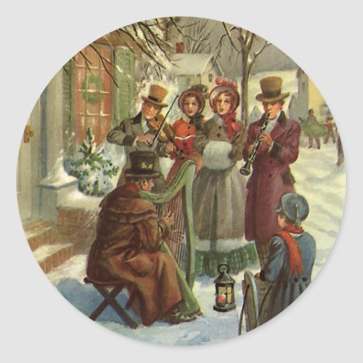 Vintage Christmas, Victorian Musicians Round Stickers