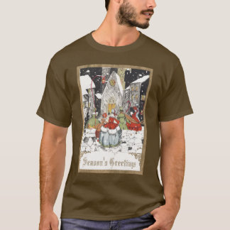 Vintage Christmas, Victorian People at Church T-Shirt