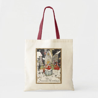 Vintage Christmas Victorian People Going to Church Budget Tote Bag