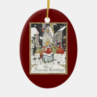 Vintage Christmas Victorian People Going to Church Ceramic Oval Decoration