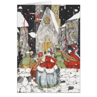 Vintage Christmas Victorian People Going to Church Greeting Card