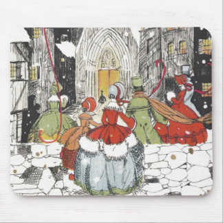 Vintage Christmas Victorian People Going to Church Mouse Pad