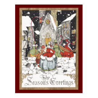 Vintage Christmas Victorian People Going to Church Postcard