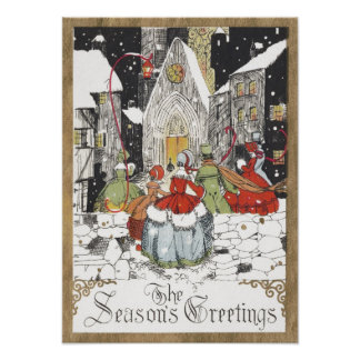 Vintage Christmas Victorian People Going to Church Poster