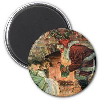 Vintage Christmas, Victorian Santa Claus Children 6 Cm Round Magnet