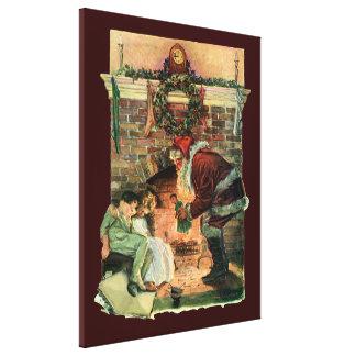 Vintage Christmas, Victorian Santa Claus Children Canvas Print