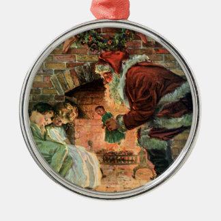 Vintage Christmas, Victorian Santa Claus Children Christmas Ornament
