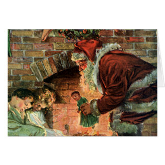 Vintage Christmas, Victorian Santa Claus Children Greeting Card