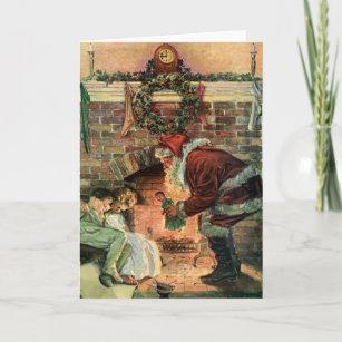 Vintage Christmas, Victorian Santa Claus Children Holiday Card