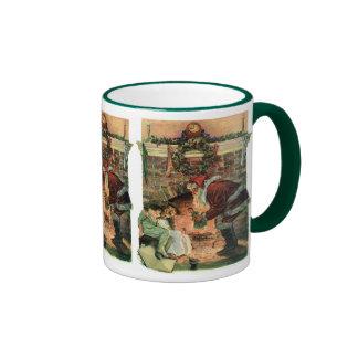 Vintage Christmas, Victorian Santa Claus Children Ringer Coffee Mug