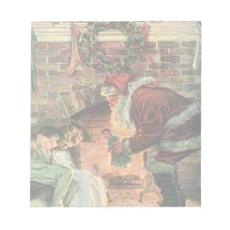 Vintage Christmas, Victorian Santa Claus Children Notepad