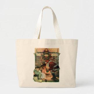 Vintage Christmas, Victorian Santa Claus Children Jumbo Tote Bag