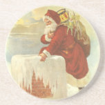 Vintage Christmas, Victorian Santa Claus Chimney Coasters