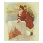 Vintage Christmas, Victorian Santa Claus Chimney Poster