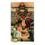 Vintage Christmas, Victorian Santa Claus Fireplace Business Card Templates