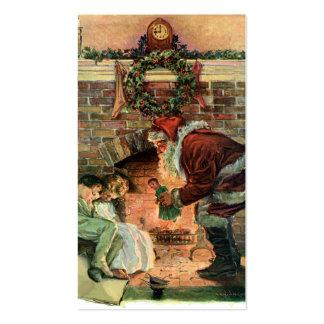 Vintage Christmas Victorian Santa Claus Fireplace Business Card Templates