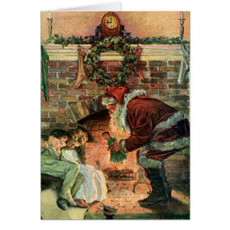 Vintage Christmas, Victorian Santa Claus Fireplace Cards