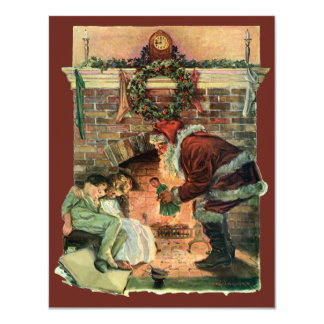 Vintage Christmas, Victorian Santa Claus Fireplace Invite