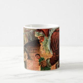 Vintage Christmas, Victorian Santa Claus Fireplace Coffee Mugs