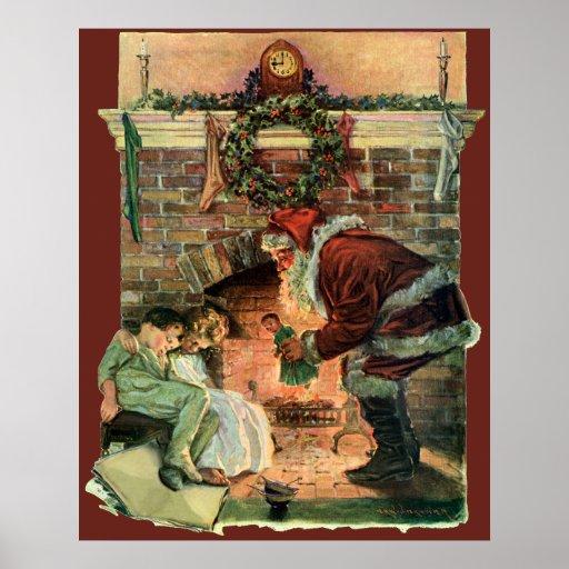 Vintage Christmas, Victorian Santa Claus Fireplace Print