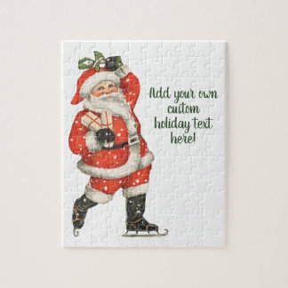 Vintage Christmas Victorian Santa Claus Ice Skater Jigsaw Puzzle