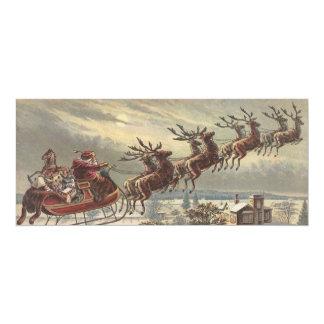 Vintage Christmas, Victorian Santa Claus in Sleigh 10 Cm X 24 Cm Invitation Card