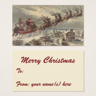 Vintage Christmas, Victorian Santa Claus in Sleigh Business Card
