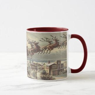 Vintage Christmas, Victorian Santa Claus in Sleigh Mug